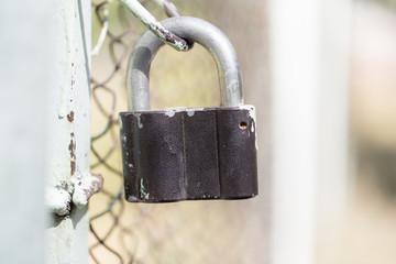 metal lock on the fence