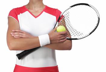female tennis player crossing arm