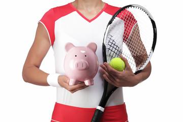 female tennis player holding a piggy bank