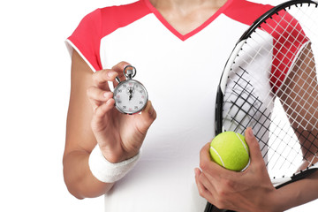 female tennis player showing a stopwatch