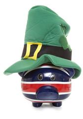 piggy bank wearing a st patricks day hat