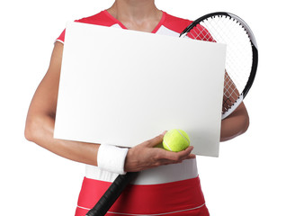 female tennis player holding a white billboard