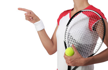 female tennis player pointing at something