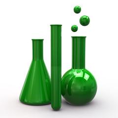 Illustration of green laboratory equipment