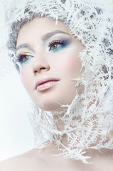 Beautiful woman with winter makeup