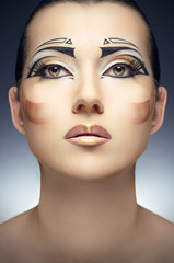 Woman with golden makeup, Face-art