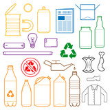 Fototapety vector outlines icons for separate collection of waste