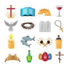 Christianity icons set
