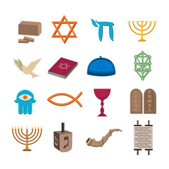 Judaism icons set