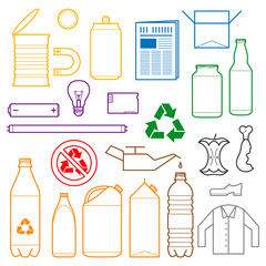 vector outlines icons for separate collection of waste