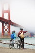 Golden gate bridge - biking couple sightseeing