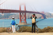 Golden gate bridge - biking couple sightseeing