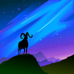 A goat on a hill top at night