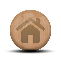 Icone en bois : accueil