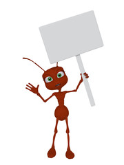 Ant, 3d, cartoon with a blank sign