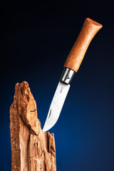 Pocket knife stuck in the wood