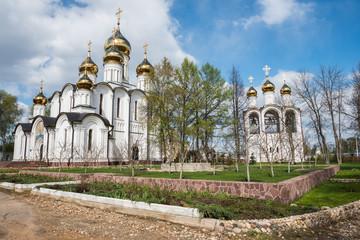 Saint Nicholas (Nikolsky) monastery from spring garden viewpoint