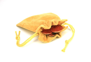 jewelry bag and gold coins isolated