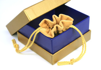 jewelry bag in gold box