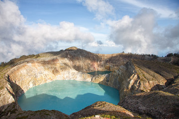 Steaming volcanic colorful lakes