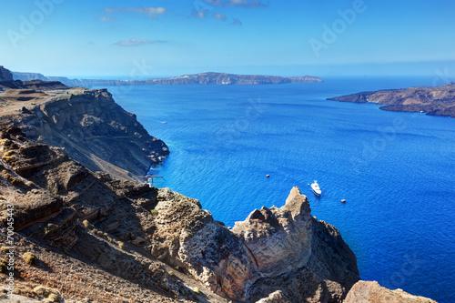Cliff and rocks of Santorini island, Greece. View on Caldera