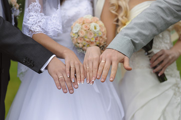 Hands with wedding rings two pairs