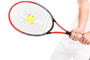 Tennis racket with broken strings