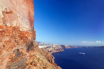 Cliff and volcanic rocks of Santorini island, Greece. Caldera