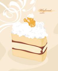 Cake with walnut on the decorative background