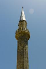 Minaret against the blue sky. Turkey.