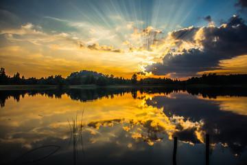 Sunset with sunbeams