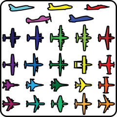 Vector set of different airplane icons.