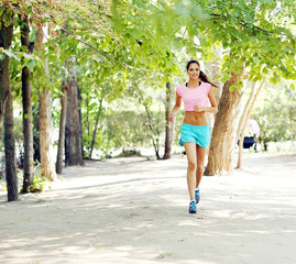 Young woman jogging at park