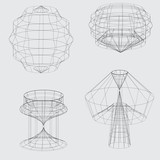 Fototapety Wireframe of various shapes on grey background