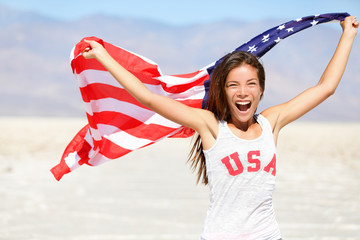 American flag - woman USA sport athlete winner