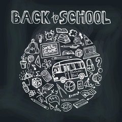 Back to School Supplies Sketchy chalkboard.Circle Doodles