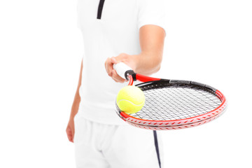 Tennis player giving a racket