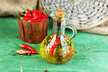 Homemade natural infused olive oil with red chili peppers in
