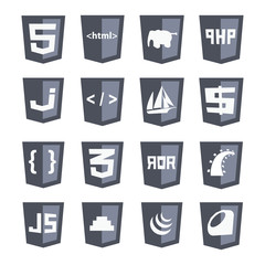 vector web shields icon set grey: html5, css3