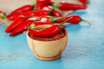 Milled red chili pepper in bowl on wooden background