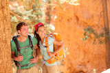Hiking - young couple of hikers