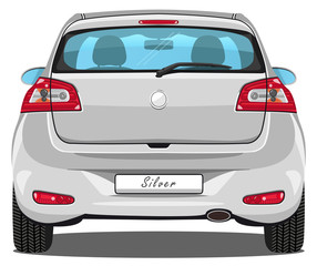 Vector Car - Back view - Silver - with visible interior