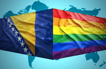 Waving Bosnian and Gay flags