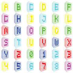 ABC. Colored building font with numbers
