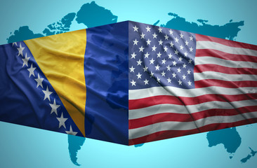 Waving Bosnian and American flags