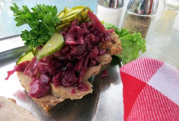 Open-face, sliced meatball (frikadeller) sandwich