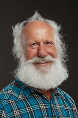 old man with a long beard with big smile