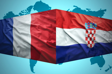 Waving Croatian and French flags