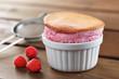 Delicious individual raspberry souffle
