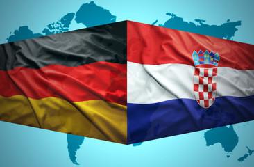 Waving Croatian and German flags